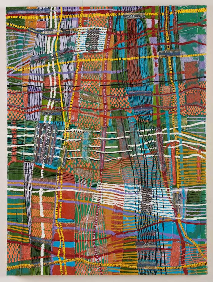 "<em>Object of Labor #1, Handwoven fabric, string, and oil on canvas, 40x30"", 2012.</em>"
