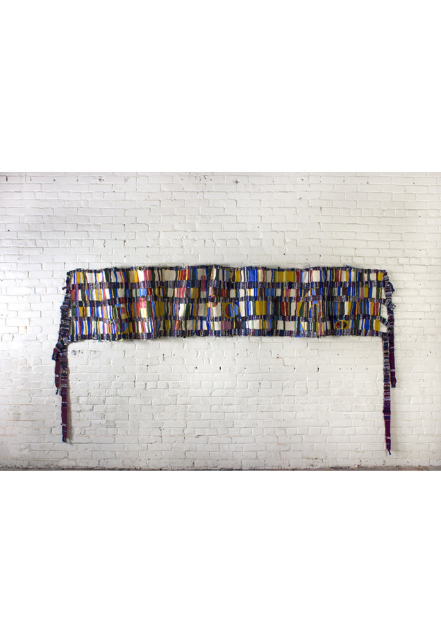 "<em>Donna, Discarded objects, handwoven fabric and oil on canvas, 36x140""(width may vary depending on the folds in the cloth), 2013. </em>"