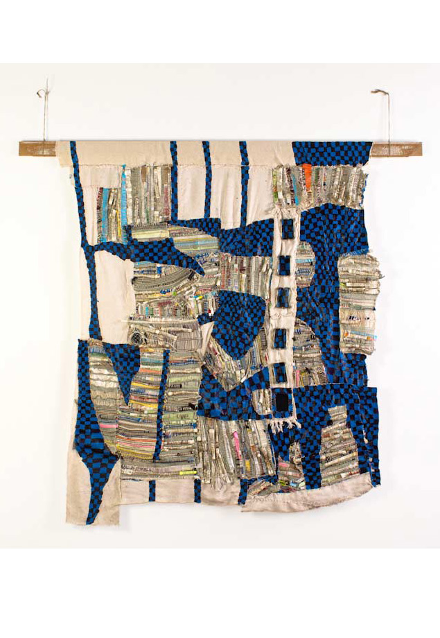 "<em>Brian, Discarded objects, handwoven fabric and oil on canvas, 62x72"", 2013</em>"